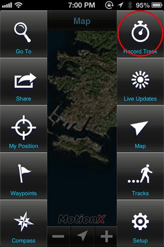 MotionX GPS メニュー