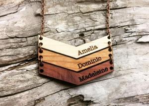 handmade wooden chevron mama necklace