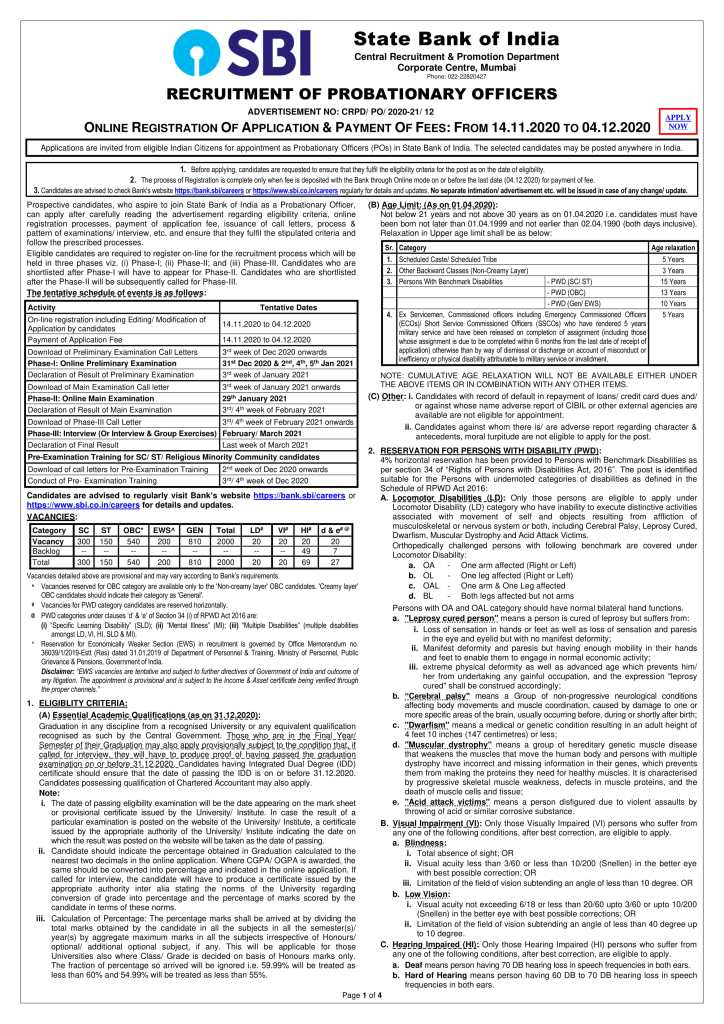 2000 jobs in the State Bank of India (SBI) for graduates