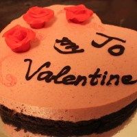 Strawberry mousse cake for a Valentine's Day