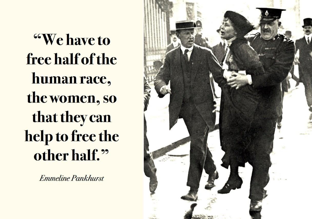 "Dagens citat – Emmeline Pankhurst: ""We have to free half of the human race, the women, so that they can help to free the other half."" Originalfoto: commons.wikipedia.org. Citatillustration: Maria Busch"