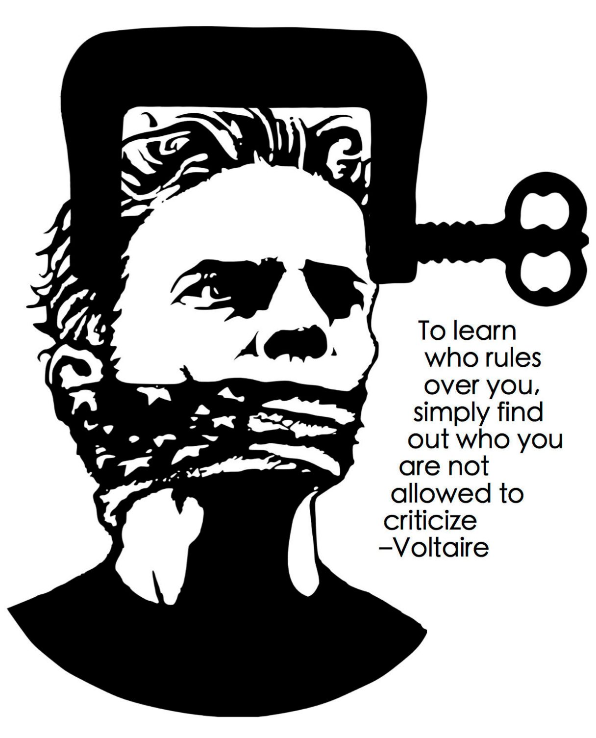 """Dagens citat – Voltaire: """"To learn who rules over you, simply find out who you are not allowed to criticize."""" Originalillustrationer: pixabay.com. Citatillustration: Maria Busch"""