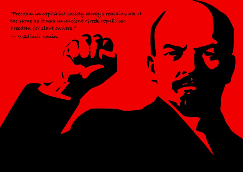 "Citat af Lenin: ""Freedom in capitalist society always remains about the same as it was in ancient Greek republics: Freedom for slave owners."" Originalillustration pixabay.com. Citatillustration: Maria Busch"