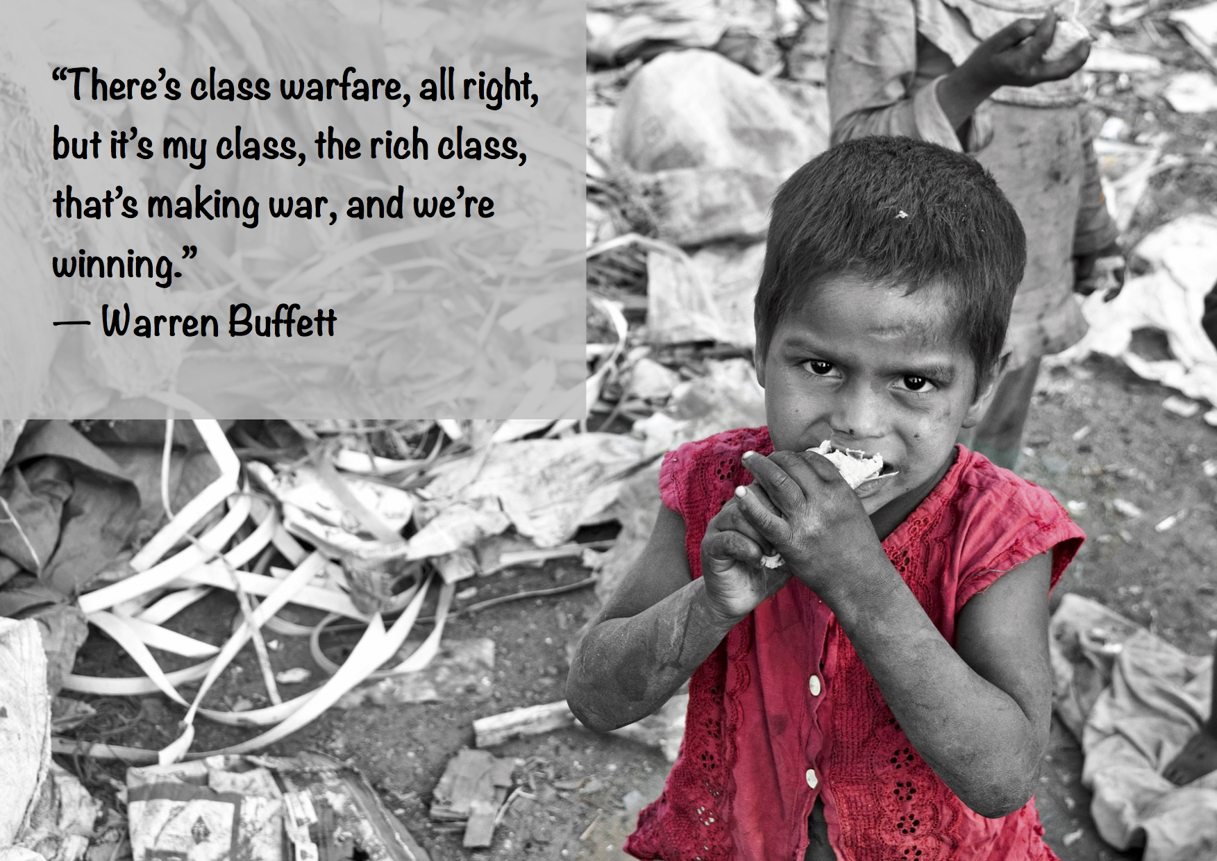 "Citat af Warren Buffet: ""There's class warfare, all right, but it's my class, the rich class, that's making war, and we're winning."" Originalfoto: pixabay.com. Citatillustration: Maria Busch"