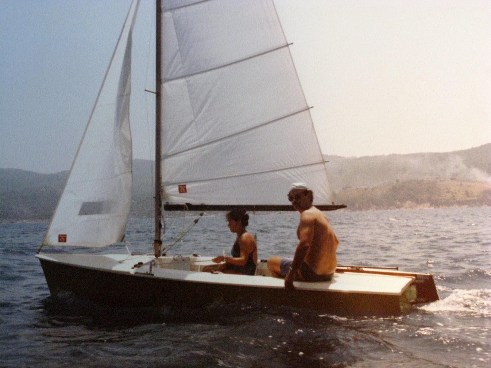 Byron & niece Cynthia on the Tasar in Samos ca. summer 1998