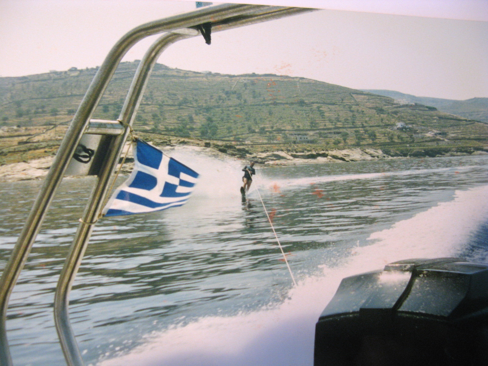 """""""MORUDA II"""" was oftn used a ski boat. Here Byron slaloming, water-ski being a childhood learned sea sport."""
