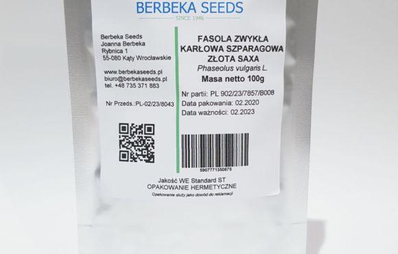 Fasola zwykła karłowa szparagowa Złota Saxa 100g Standard BerbekaSeeds
