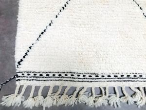 Long white & Black Beni Ourain runner rug 2x9