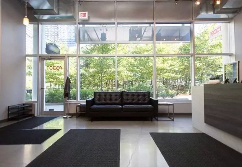 Inside the lobby at React Physical Therapy Clinic at Lakeshore East