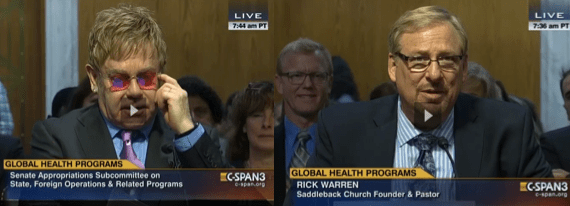 Rick Warren and Elton John at senate hearing on global health programs.