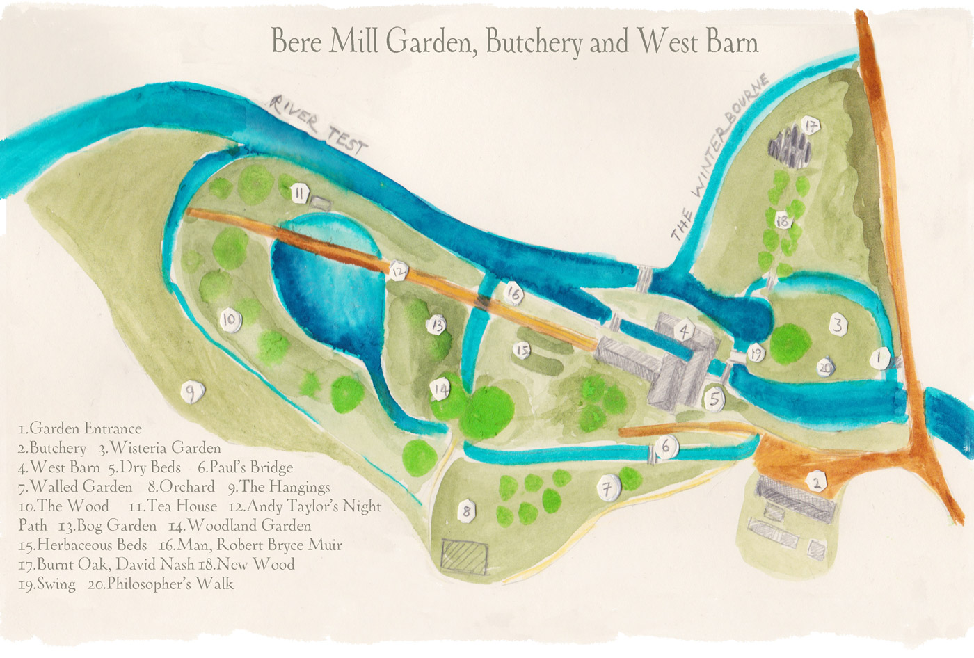 Map of Bere Mill Gardens