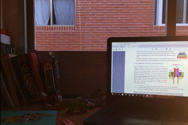 Çalışma masamı çekmişim, solda duvara yaslanmış defter kitaplar var, sağda bilgisayarım, önümde bir defter ve kalem. karşıda pencereden karşı binanın tuğlalı duvarı görünüyor. loş bir ortam var, hava yeni kararmış