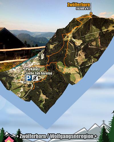 Tourgrafik zur Bergtour mit Hund auf das Zwölferhorn