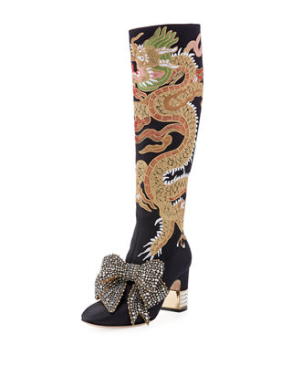 Gucci Candy Dragon Embroidered Block Heel Knee Boot
