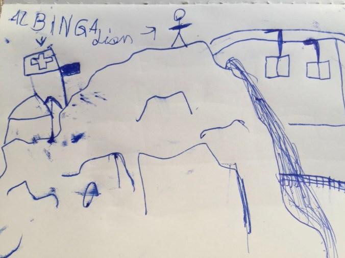 Besser als jedes Foto: Zeichnung von Lion zum Albigna-Ausflug