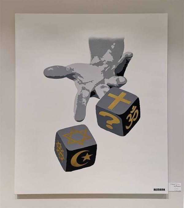 Bildet viser kunstverket Eternal gamble hengene på en vegg i Bergesgalleriet sitt galleri