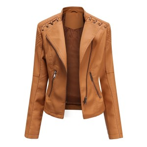 Woman leather jacket Spring and Autumn Leather Thin Ladies Motorcycle Suit