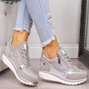 Woman Sneakers Shoes 2020 New Fashion Casual Flat Shoes Zipper Lace Up Comfortable Ladies Sneakers