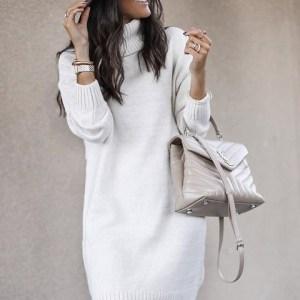 Woman sweater Mid-length turtleneck warm.