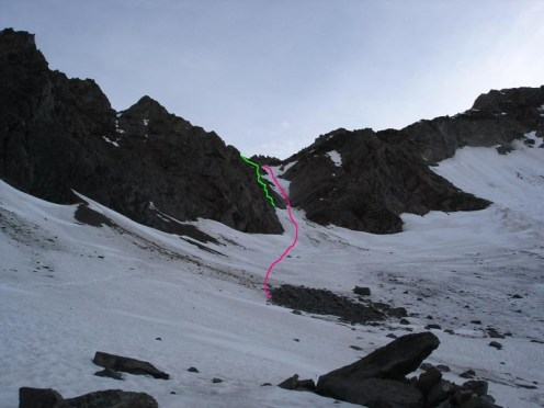 Grün Klettersteig, rot Eisrinne
