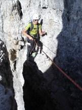 Rene beim Ausstieg aus dem Kamin