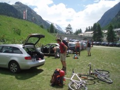 Start beim Langzeitparkplatz Pontresina