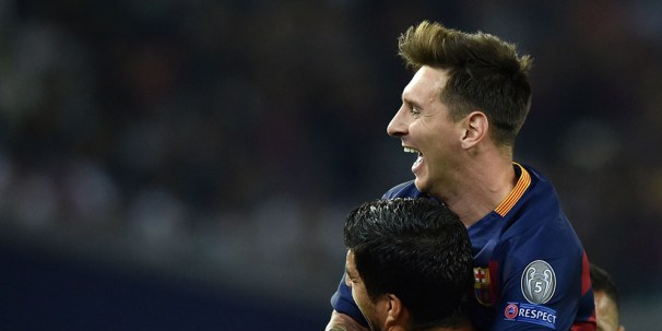 Barcelona's Argentinian forward Lionel Messi celebrates after scoring a goal during the UEFA Super Cup final football match between FC Barcelona and Sevilla FC in Tbilisi on August 11, 2015. AFP PHOTO/KIRILL KUDRYAVTSEV