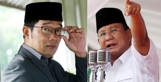 Ridwan Kamil dan Prabowo Subianto.