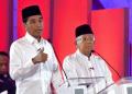 Jokowi-Ma'ruf Amin saat debat Capres-Cawapres.