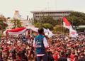 Jokowi saat menghadiri kegiatan deklarasi Forum Alumni Jawa Timur di Tugu Pahlawan, Kota Surabaya, Jawa Timur, Sabtu (2/2/2019).