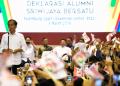 Jokowi dalam acara Deklarasi Alumni Sriwijaya Bersatu di Palembang Sport and Convention Center, Sumatera Selatan, Sabtu (9/3/2019).