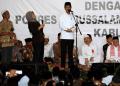 Jokowi di Ponpes Darussalam Timur Watucongol, Muntilan, Kabupaten Magelang, Jawa Tengah, Sabtu (23/3/2019).