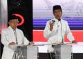 Jokowi-Ma'ruf di acara debat Capres-Cawapres di Hotel Sultan, Sabtu (13/4/2019).