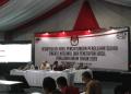 Suasana rapat pleno terbuka rekapitulasi penghitungan suara Pemilu 2019 luar negeri di kantor KPU, Jakarta.