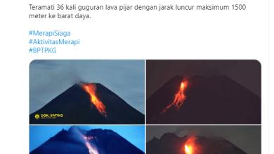 Photo of Merapi Muntahkan Guguran Lava Pijar 36 Kali dalam 6 Jam