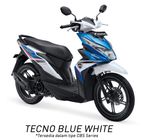 All New Honda BeAT eSP 2017 Warna Biru Putih tipe CBS