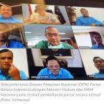 Foto Caption : Partai Gelora Indonesia Teleconference Bersama Menkumham.
