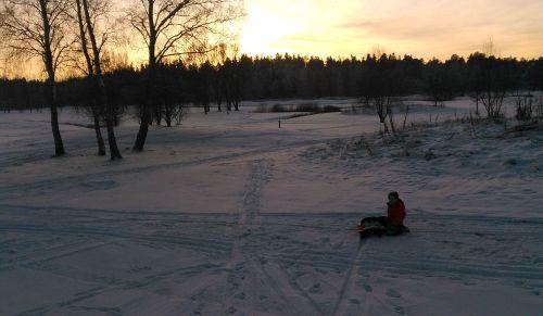 Pulka i Solnedgång