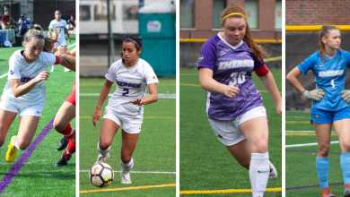 From left to right, Jess Frost, Amanda Benavente, Paige Haley, and Megan Rose all earned NEWMAC All-Conference honors. Photos by Kyle Bray and Anissa Gardizy / Beacon Staff