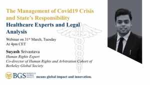 Suyash Srivastava-one of the panelists of Webinar 1 on COVID 19 organised by BGS