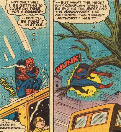 spidey hit by a tree