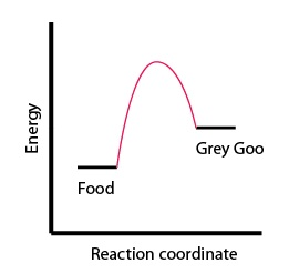 """Figure 2: Plot of a reaction where Food and a large energy input is needed to create Grey Goo. """"Reaction coordinate"""" means that as time passes, Food reorganizes its chemical bonds and turns into Grey Goo (reading left to right along the x-axis)."""
