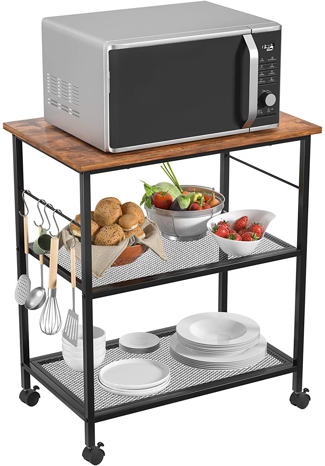 homfio kitchen microwave cart utility storage rack 3 tier baker s rack end side table storage office shelf lamp table rolling cart with wheels and
