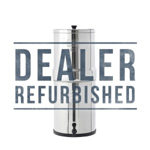 dealer refurbished silver stainless steel water filter system pictured on a white background