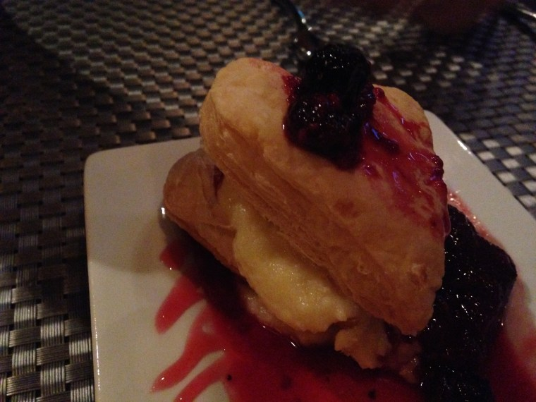 salute-puff-pastry-with-custard-and-wild-berry-reduction