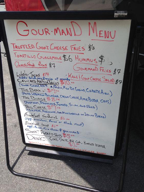 Gourmand Food Truck Menu