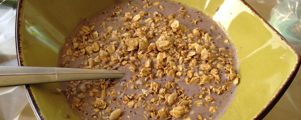 Julie's blueberry-banana smoothie bowl with almond milk and granola.