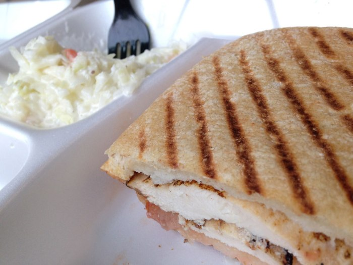 Chicken panini and cole slaw from the Tower Cafe