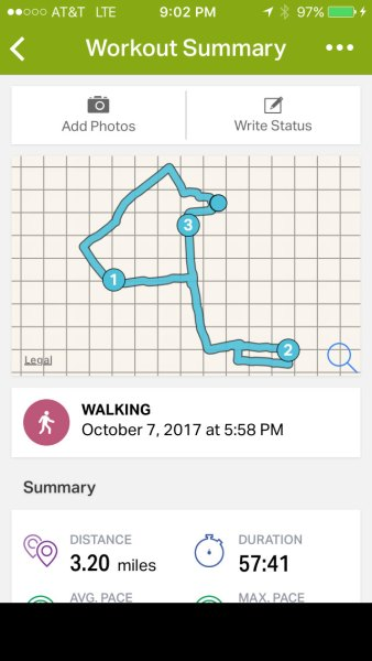 A three-mile walk to cap off a successful weekend.