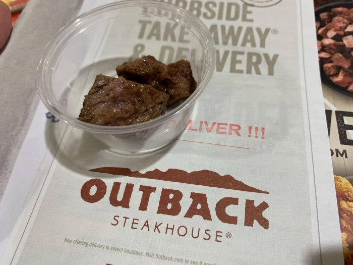 Outback Steakhouse seasoned steak sample
